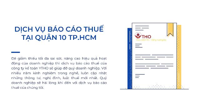 Dịch vụ báo cáo thuế tại quận 10 TP.HCM