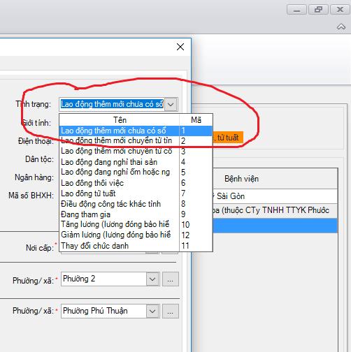 báo tăng lao động trên phần mềm kbhxh