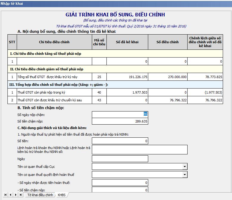 Hướng dẫn kê khai các chỉ tiêu trên tờ khai bổ sung điều chỉnh KHBS