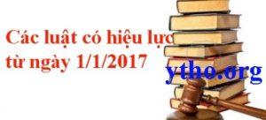 Các Luật có hiệu lực từ ngày 01/01/2017