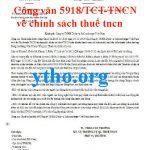 công văn 5918 về chính sách thuế tncn